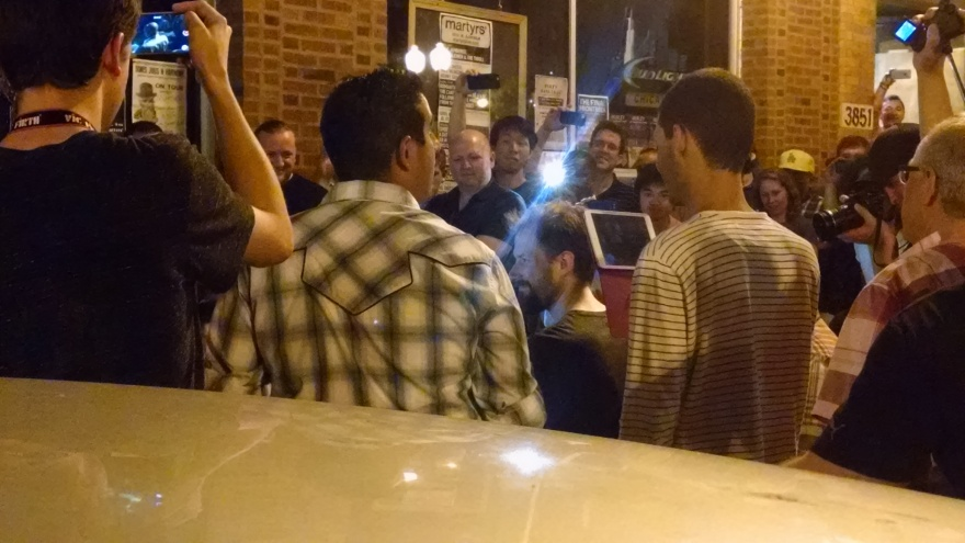 150811 - Steve Smith & Benny Greb on the sidewalk in front of Martyrs: Photo by Drumnmike